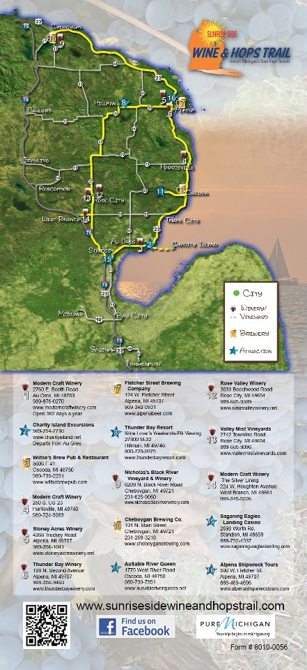 Sunny Side Up Sunrise Side Trail Links Wineries Breweries In - Michigan wineries map